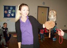 Handling birds of prey at Dawn Til Dusk Holiday Club