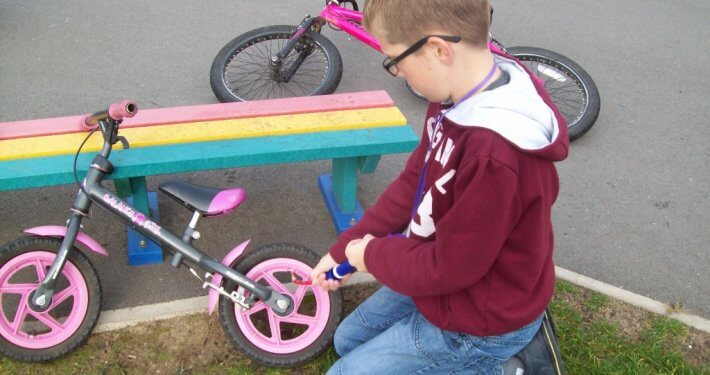 Playing with bikes at Dawn Til Dusk Holiday Club